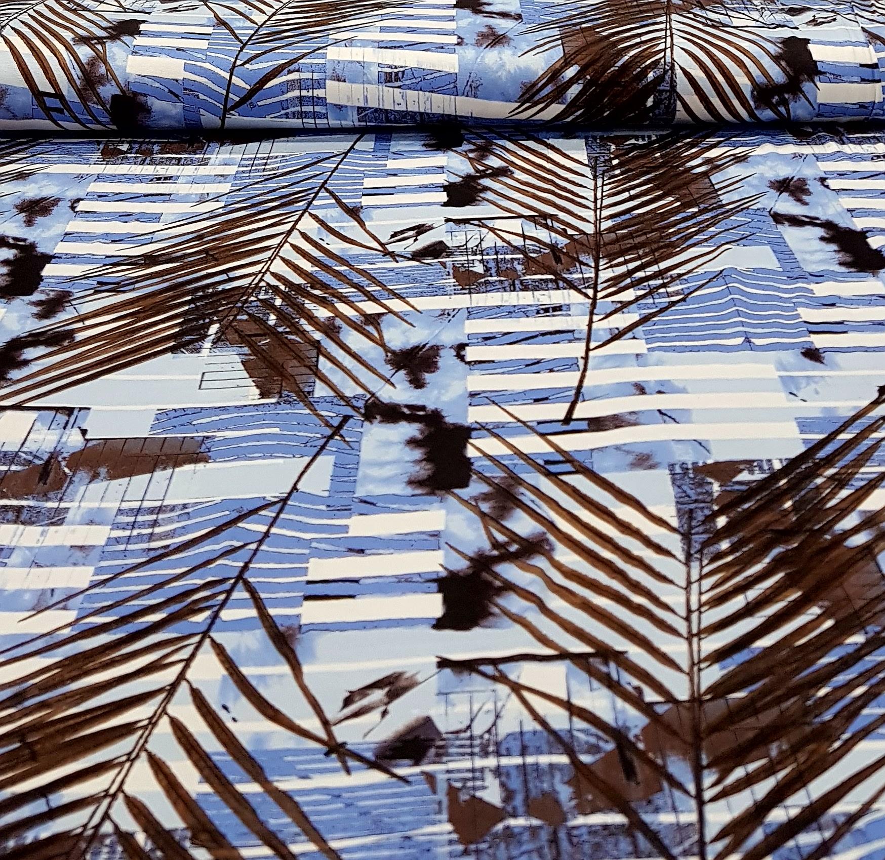 bedruktetricotbladerenblauwbruin
