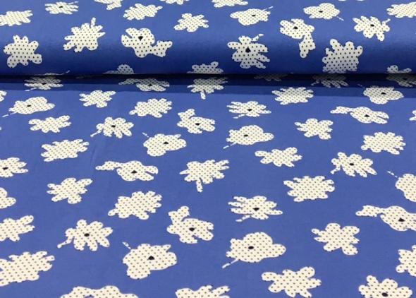 bedruktetricotgestiptebloemenblauw