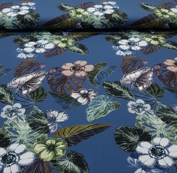 digitaletricotherfstgebloemdjeansblauw