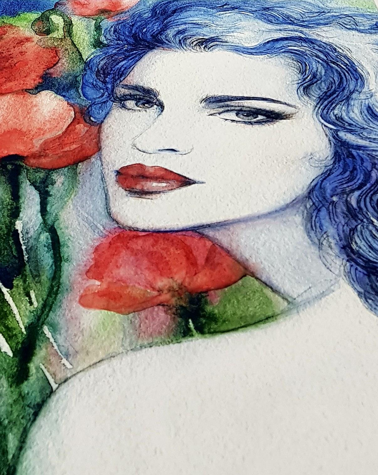 digitaletricotpanelgeschilderdedameroodblauw