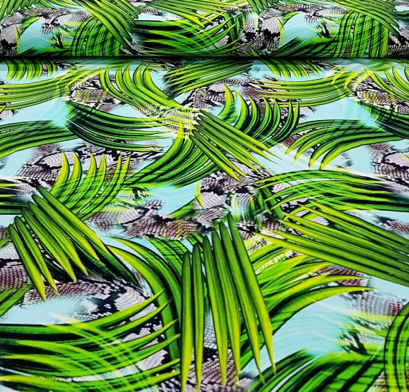 katoenentricotpalmbladendierenprintturquoise-min