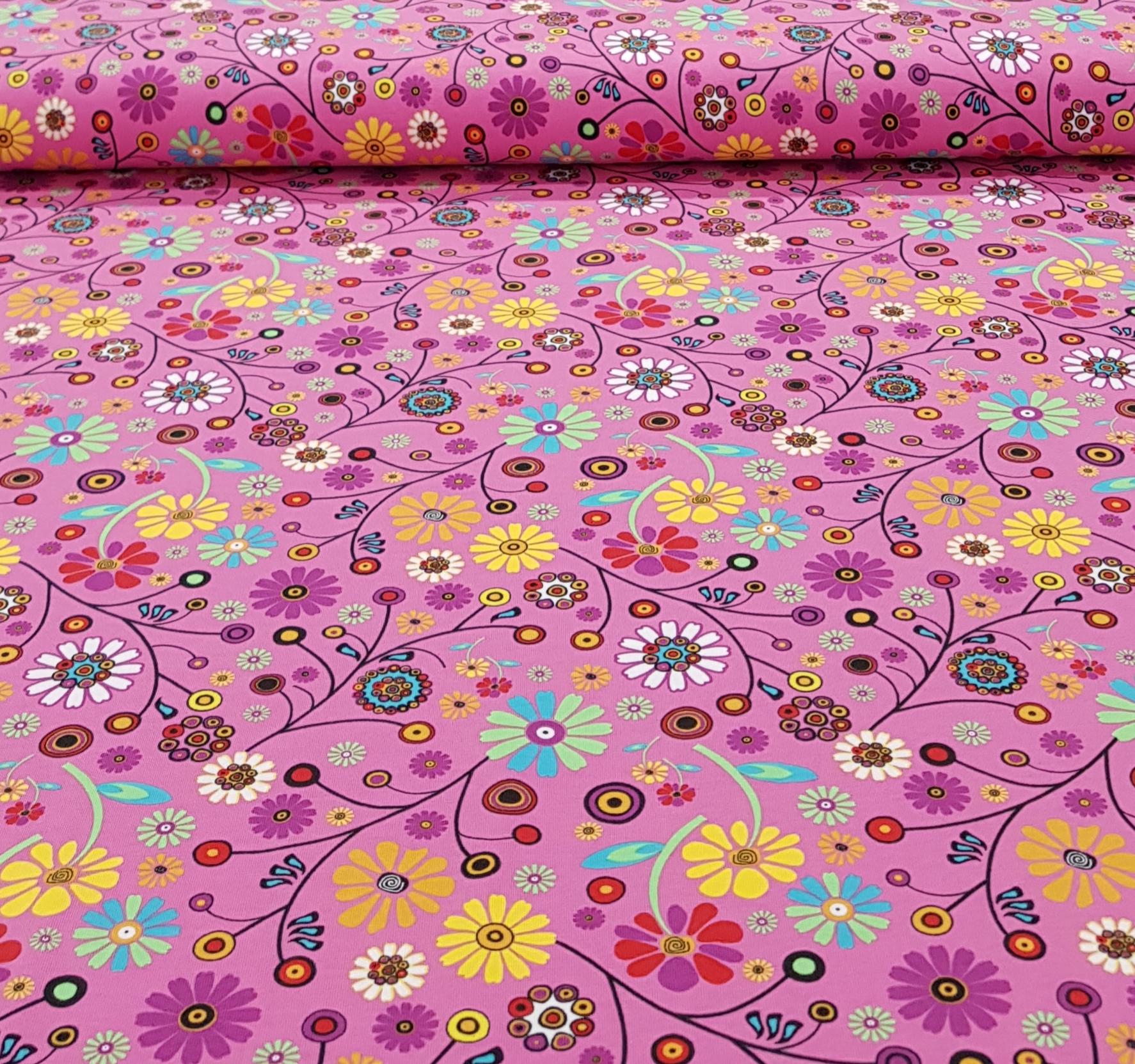 kindertricotkleurrijkebloemenrozegeel