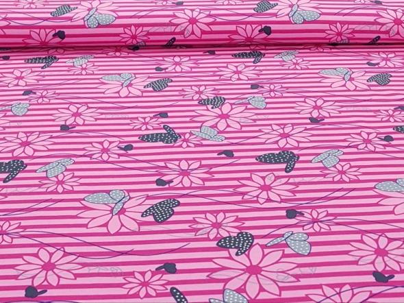 kindertricotvlindersenbloemenrozegestreept