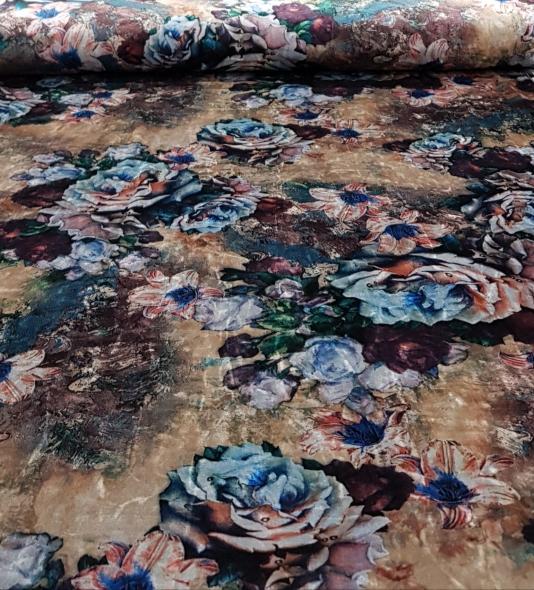 stretchfluweelbloemenbeigeblauw