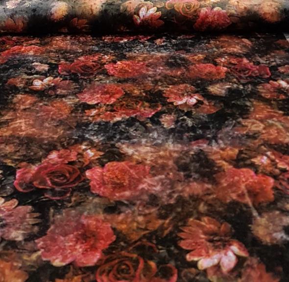 stretchfluweelbloemenbruinrood